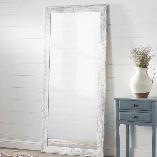 White Weathered Handcrafted Farmhouse Wall Mirror by August Grove