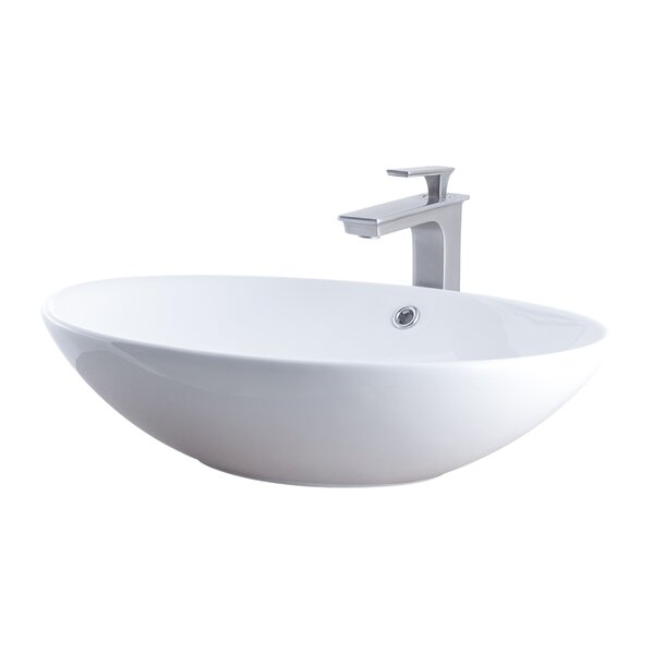 Ceramic Oval Vessel Bathroom Sink with Faucet and Overflow by Novatto