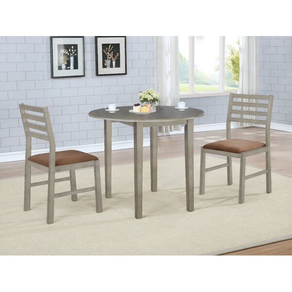 Broughton 3 Piece Drop Leaf Solid Wood Dining Set by Winston Porter