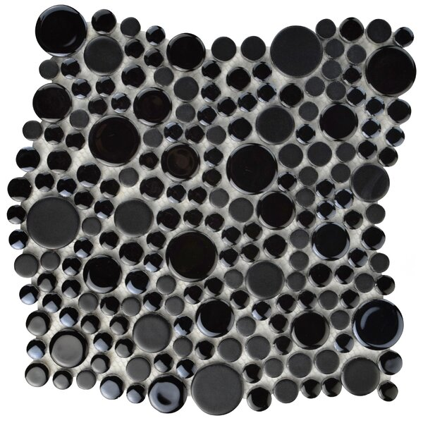 Posh Bubble Random Sized Porcelain Pebble Tile in Black by EliteTile