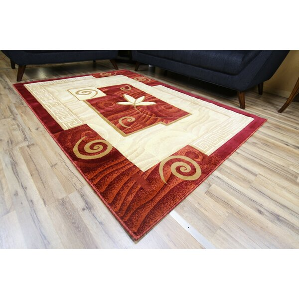 Rosa Red/Cream Area Rug by Beyan Signature