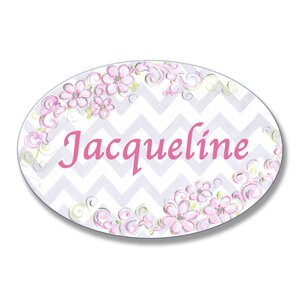 Kids Room Personalization Floral Chevron Wall Plaque by Stupell Industries