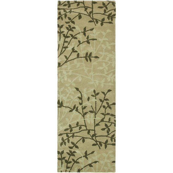 Lockwood Green Floral Area Rug by Ebern Designs
