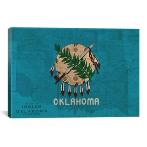 Flags Oklahoma Map Graphic Art on Canvas by iCanvas