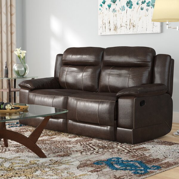 Rindham Manual Motion Leather Reclining Loveseat by Red Barrel Studio