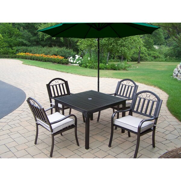 Lisabeth 5 Piece Dining Set with Cushions and Umbrella by Red Barrel Studio