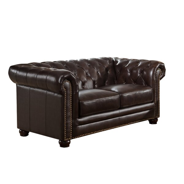 Brittany Top Grain Leather Chesterfield Loveseat by 17 Stories