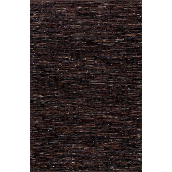 Olaughlin Hand-Woven Dark Brown Area Rug by Loon Peak