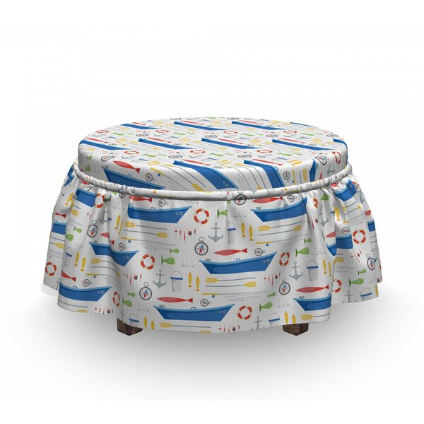 Cartoon Fishing Rods Ottoman Slipcover (Set Of 2) By East Urban Home