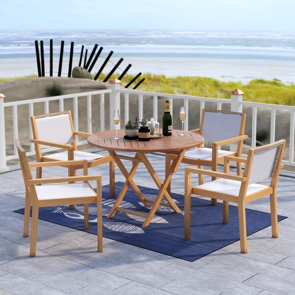 Claris 5 Piece Teak Dining Set by Beachcrest Home