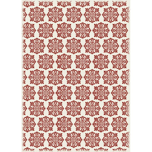 Hotaling Modern European Red/White Indoor/Outdoor Area Rug by Charlton Home