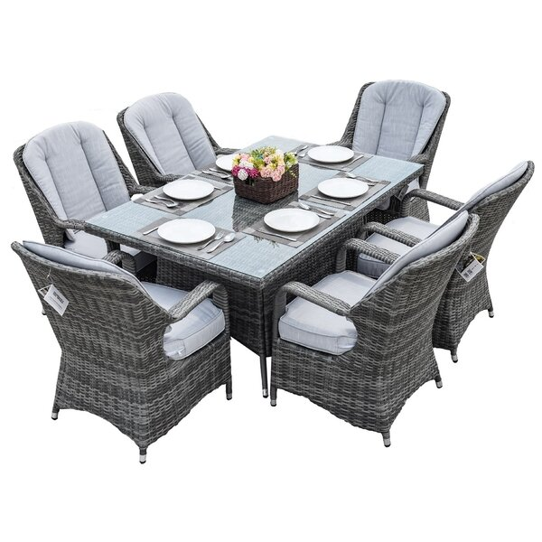 Whisman 7 Piece Dining Set with Cushions