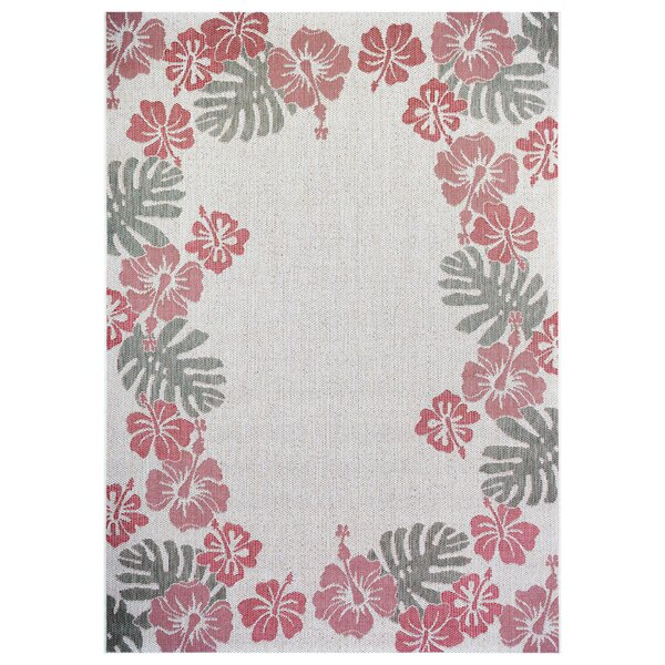Sanders Floral Border Gray/Red Indoor/Outdoor Area Rug by Bay Isle Home