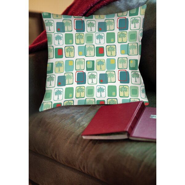 Deco Palm Printed Throw Pillow by Manual Woodworkers & Weavers