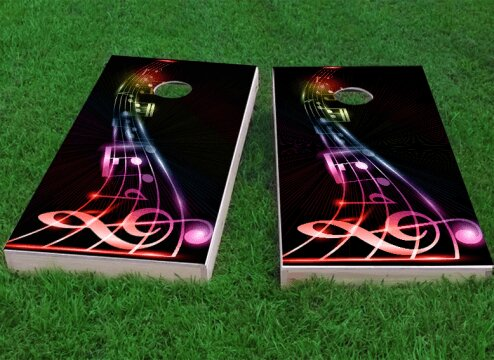 Music Notes Cornhole Game (Set of 2) by Custom Cornhole Boards