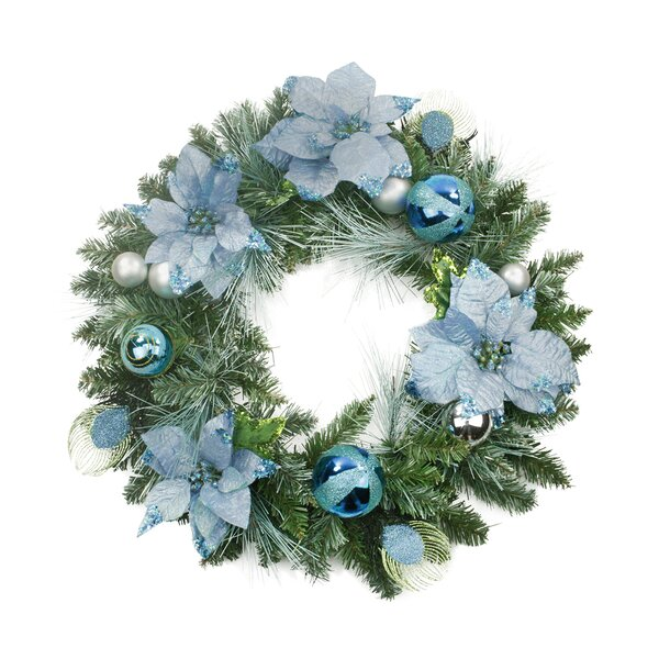 Pre-Decorated Balls and Poinsettias Artificial Christmas Wreath by Northlight Seasonal