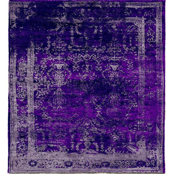 One-of-a-Kind Belhaven Hand-Knotted Purple 9' x 12' Area Rug