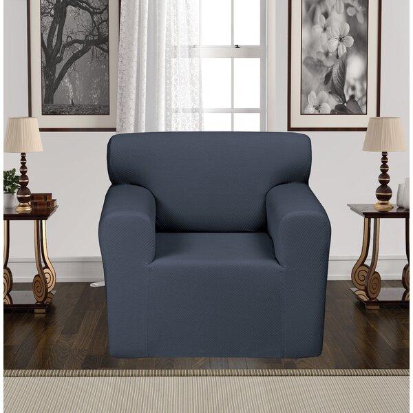 Anti-Slip Spandex Elastic Stretch T-Cushion Armchair Slipcover by Rebrilliant