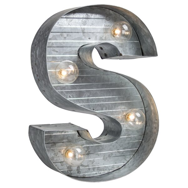 Letter S Metal LED Marquee Sign by Williston Forge