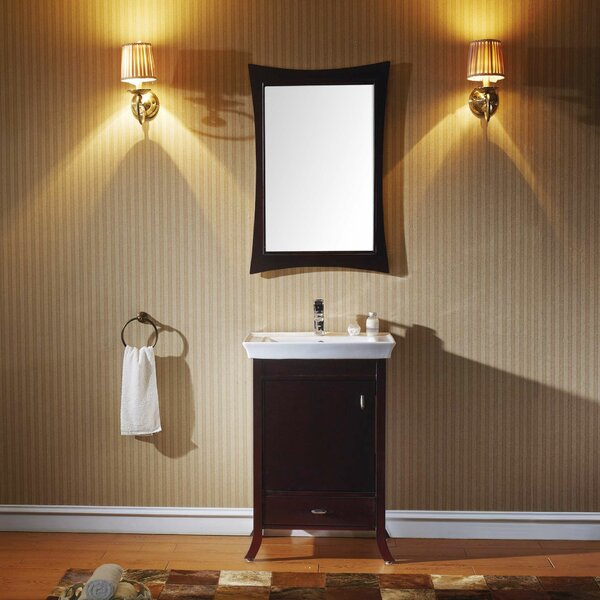 Stringham 24 Single Bathroom Vanity Set with Ceramic Top and Mirror by Ebern Designs