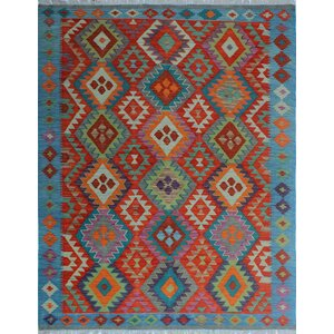 Vallejo Kilim Hand Woven Wool Blue/Red Area Rug