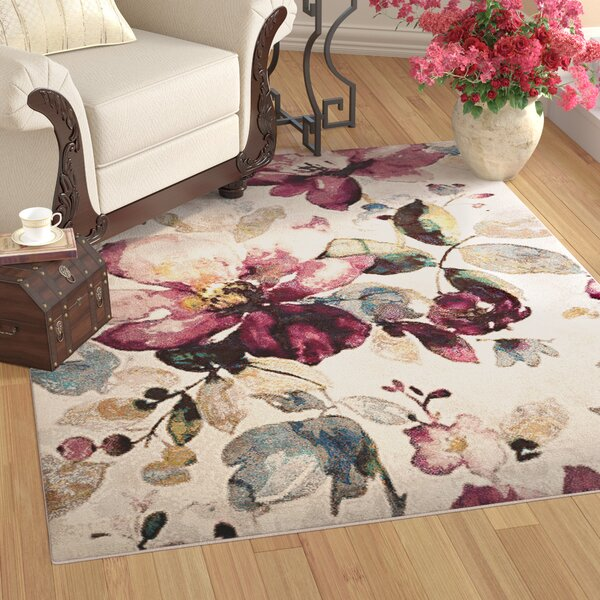 Mcpeters Floral Garden Ivory/Purple Area Rug by Winston Porter