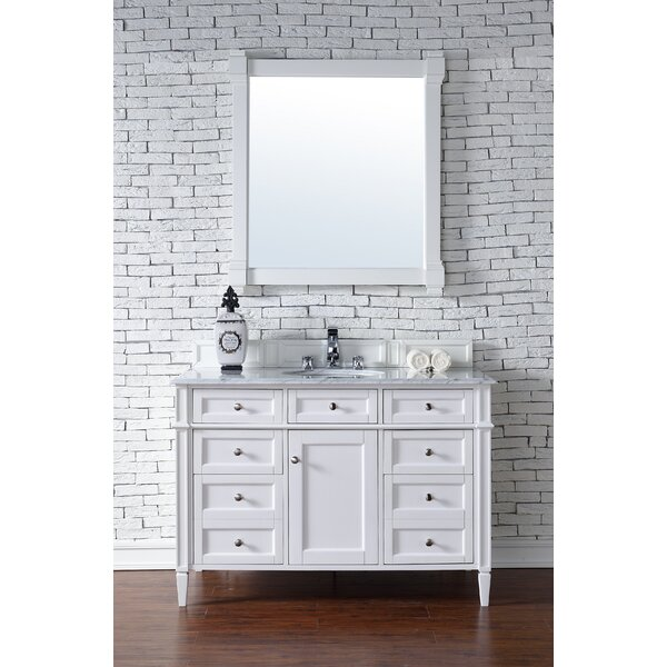 Deleon 48 Single Cottage White Granite Top Bathroom Vanity Set by Darby Home Co