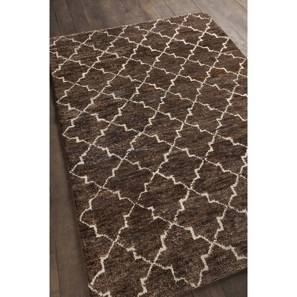Levine Hand-Knotted Dark Brown Area Rug by Gracie Oaks