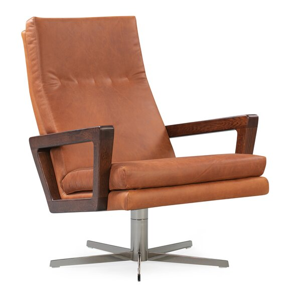 Arceneaux Leather Swivel Lounge Chair by Union Rustic