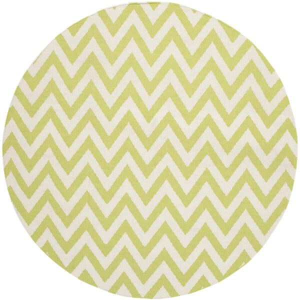 Moves Like Zigzagger Hand-Woven Wool Green/Ivory Area Rug by Birch Lane Kids™