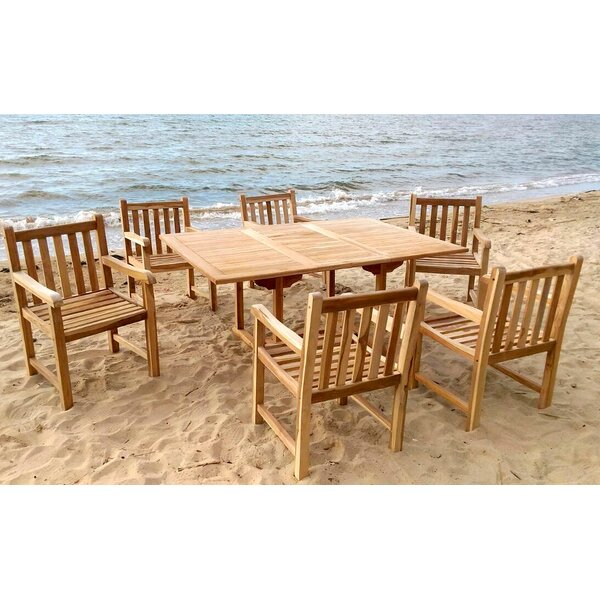 Waterford 7 Piece Teak Dining Set with Sunbrella Cushions by Trijaya Living