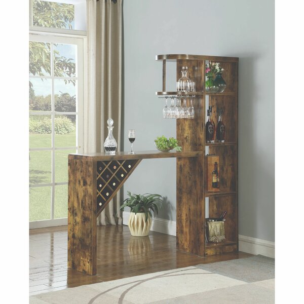 Simas Wooden Bar with Wine Storage by Millwood Pines