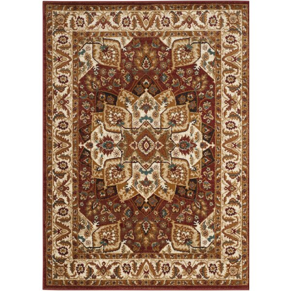 Lowe Red/Ivory Area Rug by Charlton Home