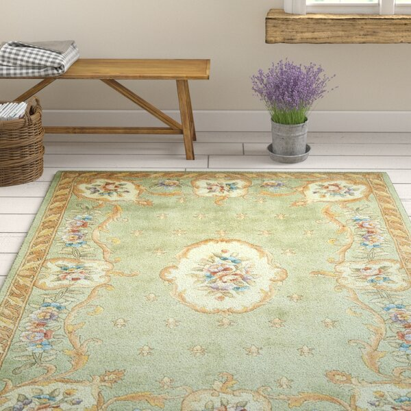 Valeriane Sage Fleur-De-Lis Aubusson Area Rug by August Grove