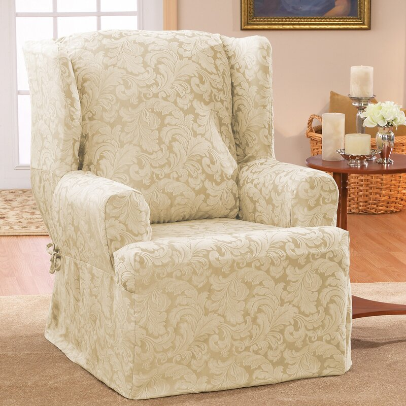 Scroll Classic T Cushion Wingback Slipcover