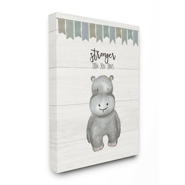 Fendley Stronger Than You Think Hippo Canvas Art by Harriet Bee