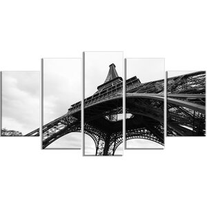 'Paris Eiffel Tower in Black and White Side View' 5 Piece Wall Art on Wrapped Canvas Set by Design Art