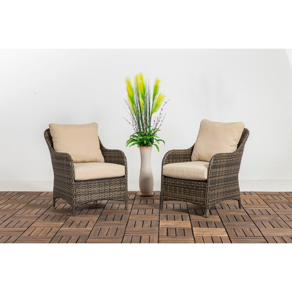 Deleon Patio Chair with Cushions (Set of 2) by Rosecliff Heights