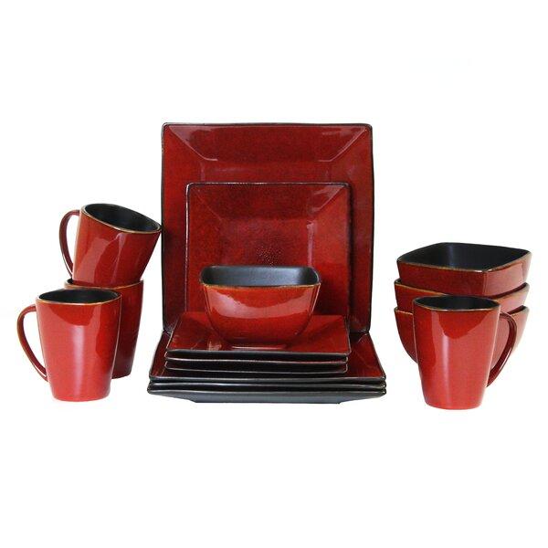 Harland Loft Premium Stoneware 16 Piece Dinnerware Set, Service for 4 by Elama