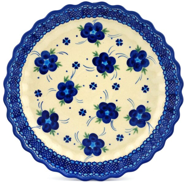 Bleu-belle Fleur Fluted Pie Dish by Polmedia