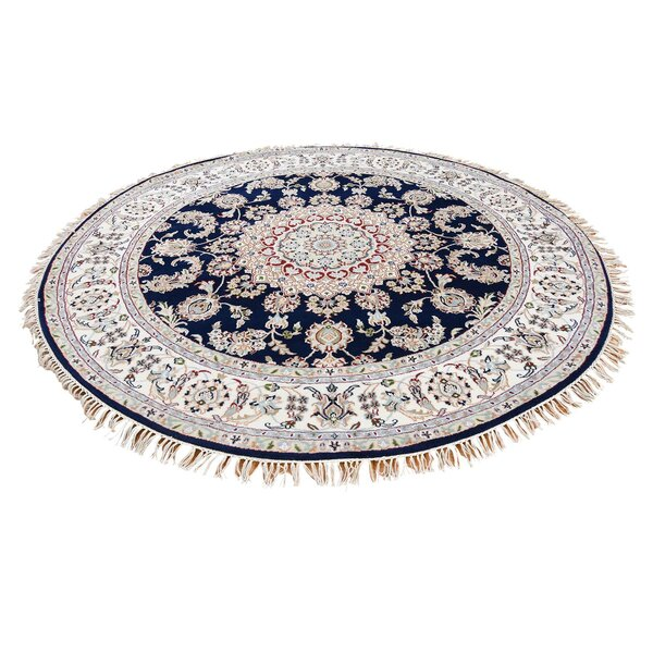One-of-a-Kind Polito Nain Hand-Knotted Silk Blue Area Rug by World Menagerie