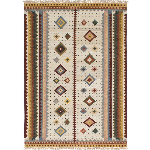 Wendt Kilim Hand Woven Cream Area Rug by Loon Peak
