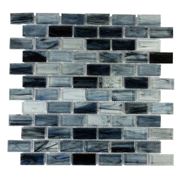 Contemporeano 1 x 1.85 Glass Mosaic Tile in Dark Blue by Byzantin Mosaic