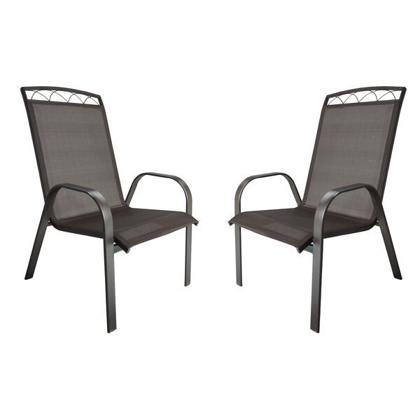 Mallery Sling Stacking Patio Dining Chair (Set of 2) by Winston Porter