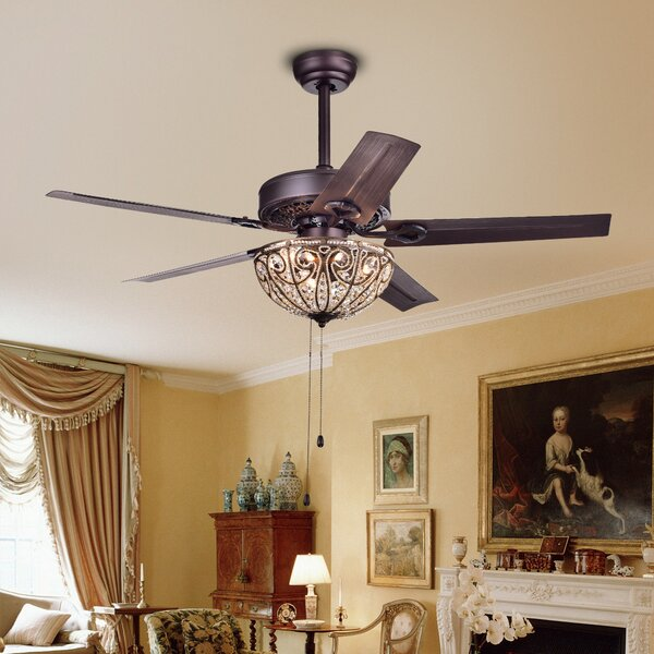 5 Blade Crystal Light Ceiling Fan by Astoria Grand