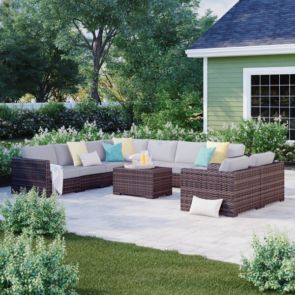 Letona Resort Double Club 10 Piece Rattan Sectional Seating Group with Cushions by Sol 72 Outdoor