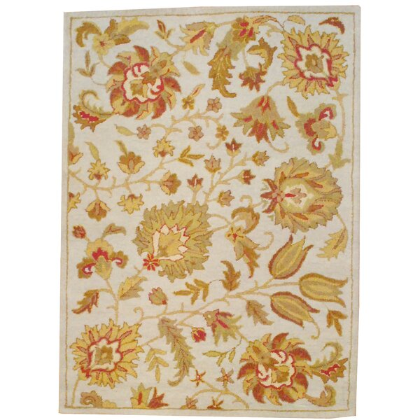 Hand Tufted Wool Beige/Light Green Area Rug by Herat Oriental