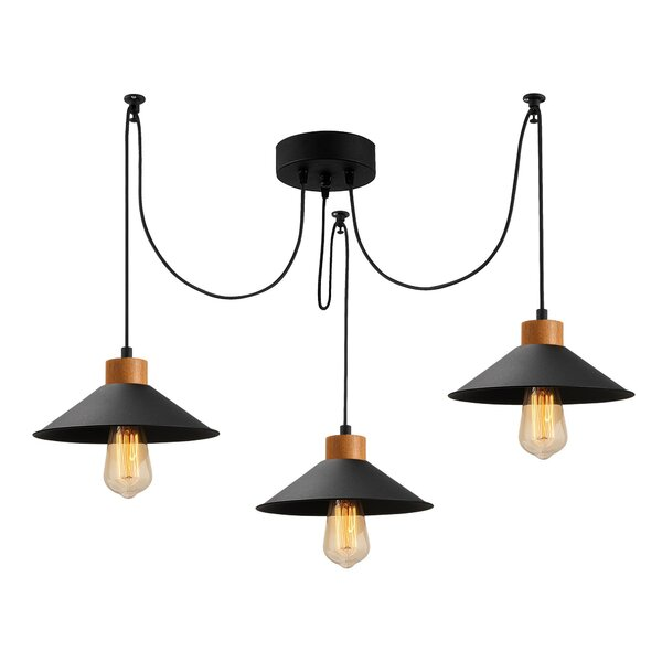 Hogans 3 - Light Shaded Classic Chandelier With Wood Accents By 17 Stories