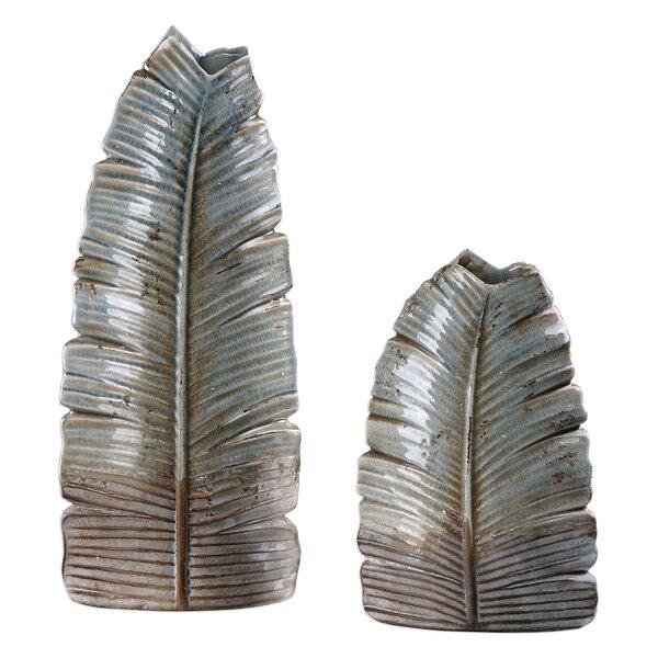 2 Piece Gray Ceramic Vase Set by Loon Peak