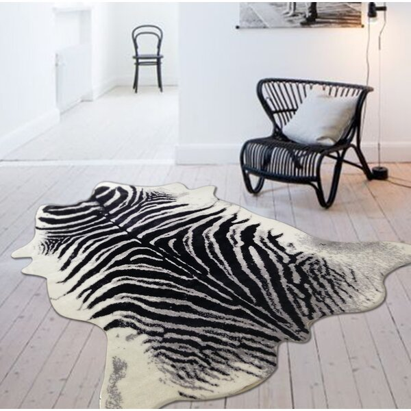 Alegre Faux Zebra Shape Black/White Indoor Area Rug by Bloomsbury Market